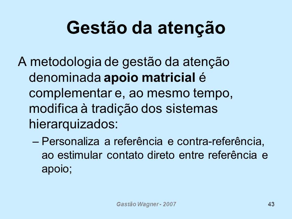 Gastão Wagner - 200743 Gestão da atenção A metodologia de gestão da atenção denominada apoio matricial é complementar e, ao mesmo tempo, modifica à tr