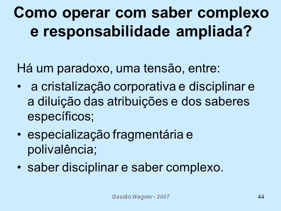 Gastão Wagner - 200744 Como operar com saber complexo e responsabilidade ampliada? Há um paradoxo, uma tensão, entre: a cristalização corporativa e di