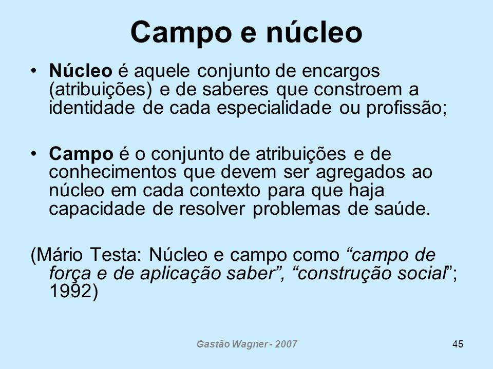 Gastão Wagner - 200745 Campo e núcleo Núcleo é aquele conjunto de encargos (atribuições) e de saberes que constroem a identidade de cada especialidade