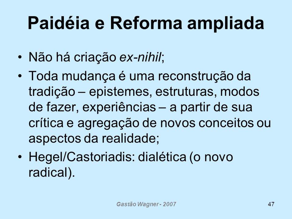 Gastão Wagner - 200747 Paidéia e Reforma ampliada Não há criação ex-nihil; Toda mudança é uma reconstrução da tradição – epistemes, estruturas, modos