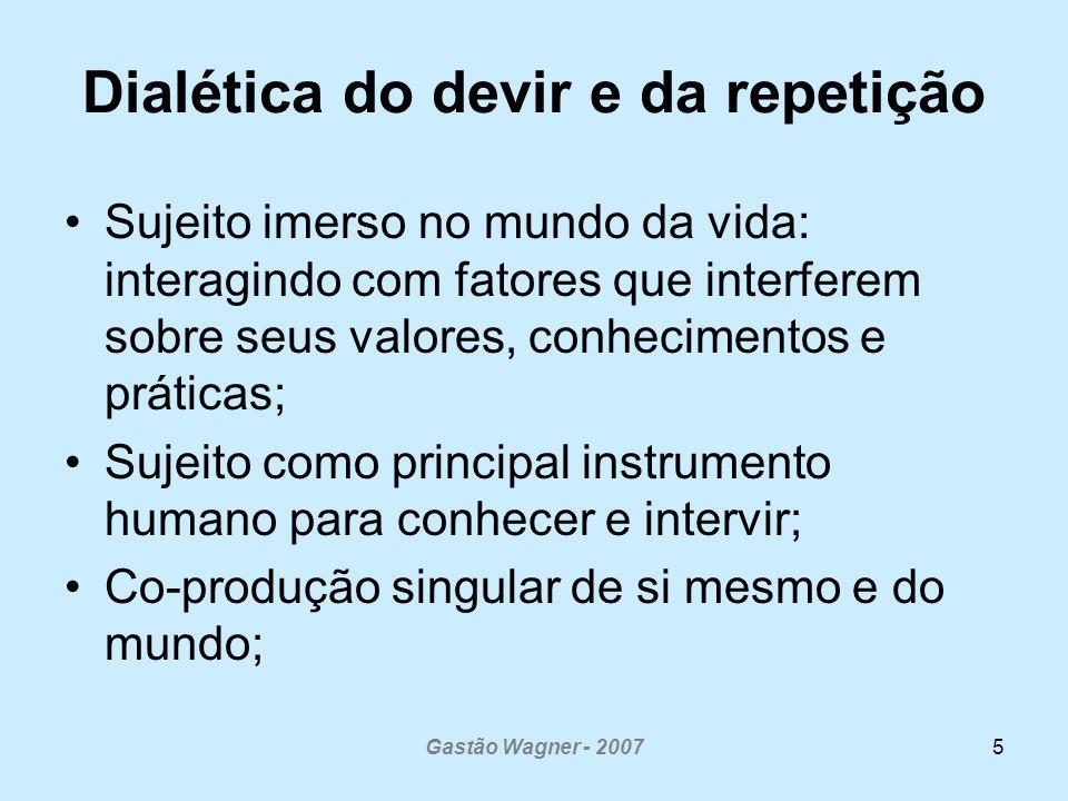 Gastão Wagner - 20075 Dialética do devir e da repetição Sujeito imerso no mundo da vida: interagindo com fatores que interferem sobre seus valores, co