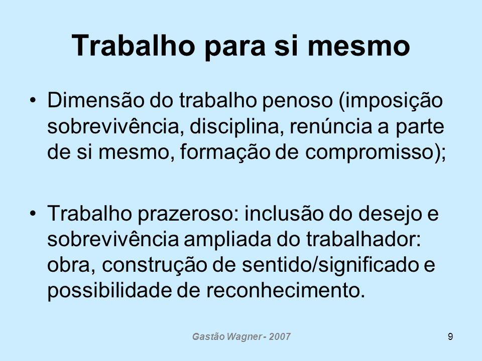 Gastão Wagner - 200710 Como lidar com a tensão entre controle e autonomia Democratização e a co-gestão organizacional como: - alternativa para a co-construção de contratos entre gestores, trabalhadores e usuários: compromisso entre tripla finalidade.