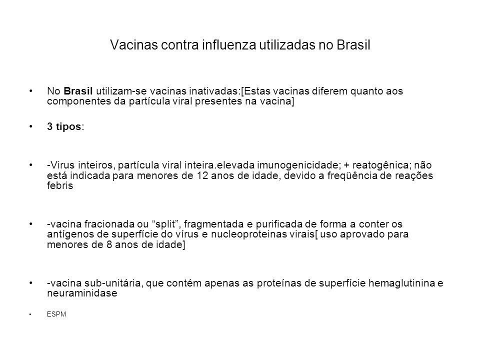 Vacinas contra influenza utilizadas no Brasil No Brasil utilizam-se vacinas inativadas:[Estas vacinas diferem quanto aos componentes da partícula vira