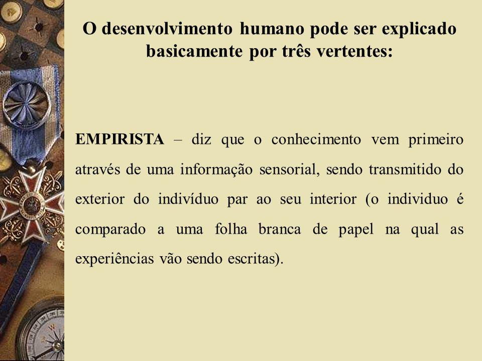 O desenvolvimento humano pode ser explicado basicamente por três vertentes: EMPIRISTA – diz que o conhecimento vem primeiro através de uma informação