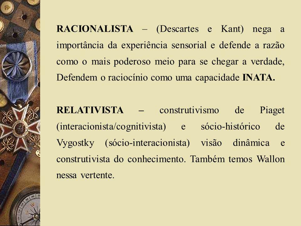 RACIONALISTA – (Descartes e Kant) nega a importância da experiência sensorial e defende a razão como o mais poderoso meio para se chegar a verdade, De