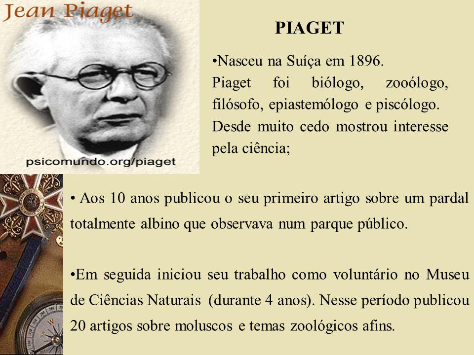 Nasceu na Suíça em 1896. Piaget foi biólogo, zooólogo, filósofo, epiastemólogo e piscólogo. Desde muito cedo mostrou interesse pela ciência; Aos 10 an