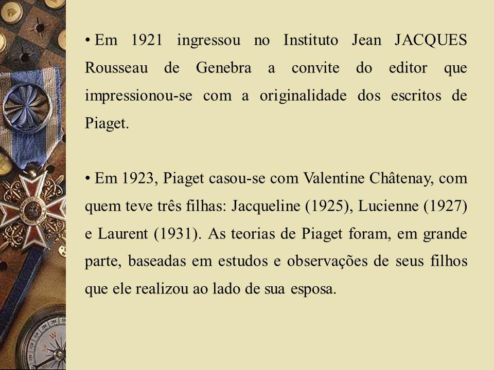 Em 1921 ingressou no Instituto Jean JACQUES Rousseau de Genebra a convite do editor que impressionou-se com a originalidade dos escritos de Piaget. Em