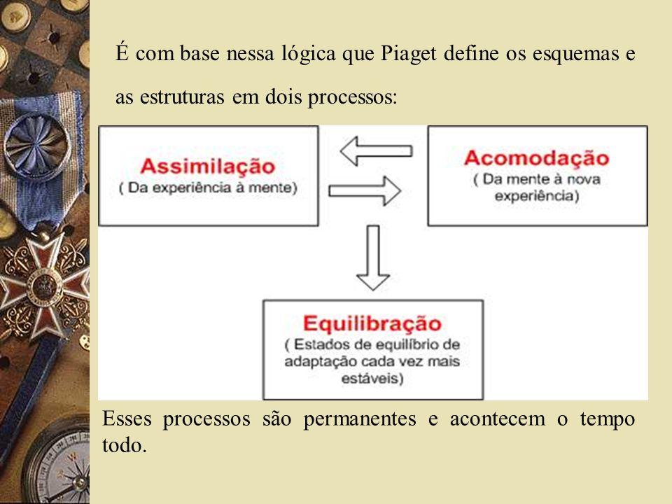 É com base nessa lógica que Piaget define os esquemas e as estruturas em dois processos: Esses processos são permanentes e acontecem o tempo todo.