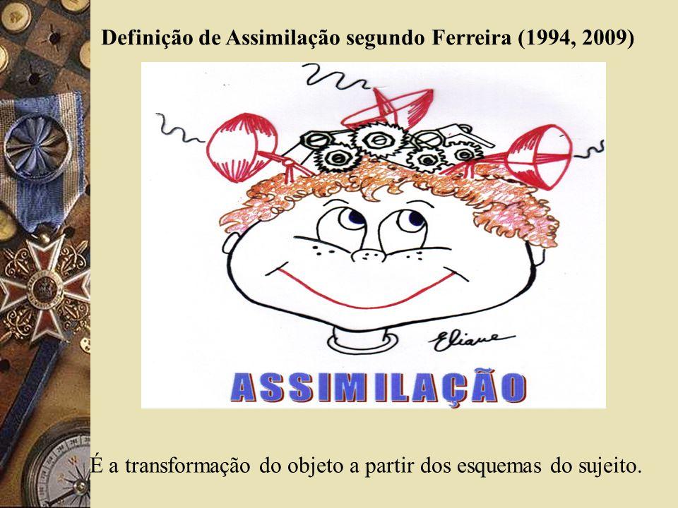Definição de Assimilação segundo Ferreira (1994, 2009) É a transformação do objeto a partir dos esquemas do sujeito.