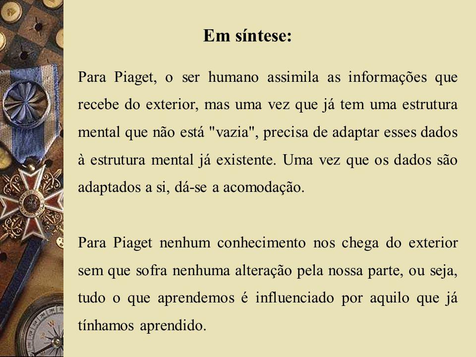 Para Piaget, o ser humano assimila as informações que recebe do exterior, mas uma vez que já tem uma estrutura mental que não está