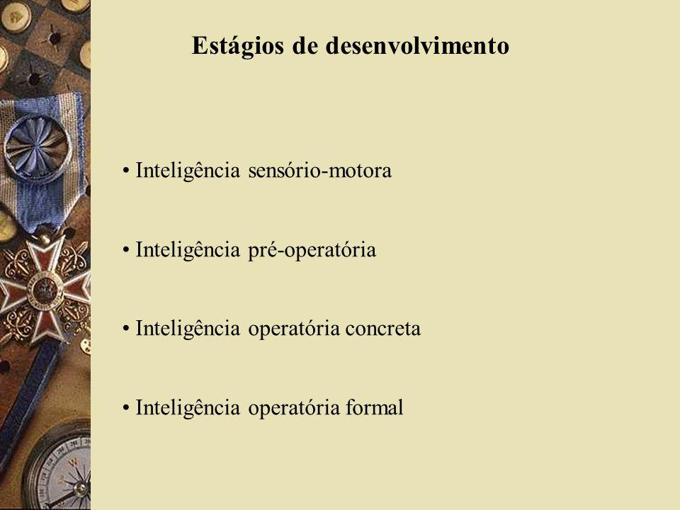 Estágios de desenvolvimento Inteligência sensório-motora Inteligência pré-operatória Inteligência operatória concreta Inteligência operatória formal