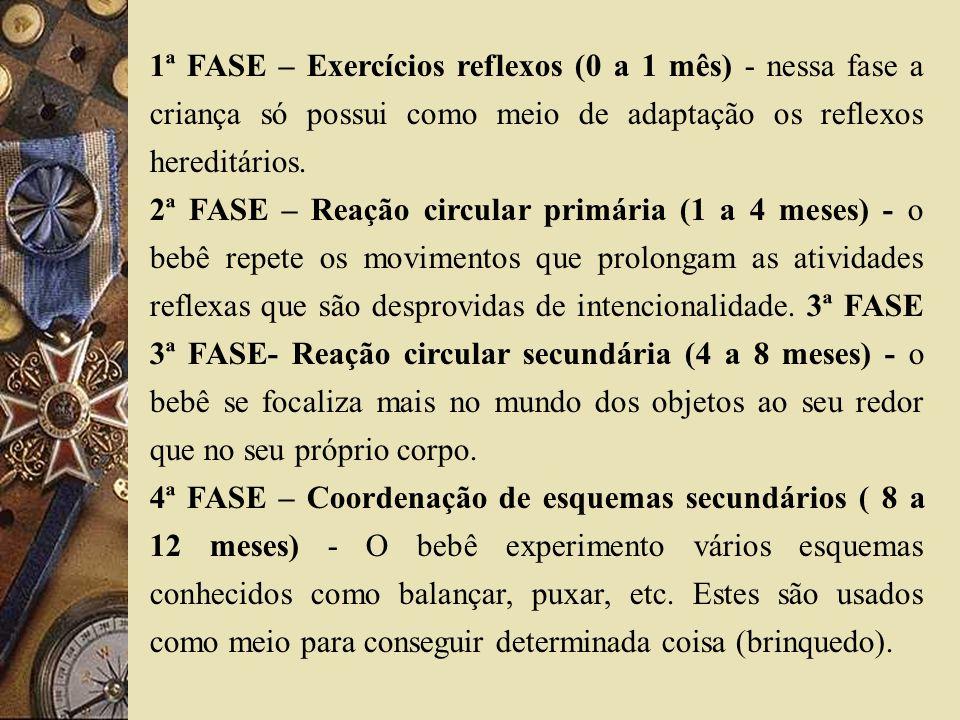 1ª FASE – Exercícios reflexos (0 a 1 mês) - nessa fase a criança só possui como meio de adaptação os reflexos hereditários. 2ª FASE – Reação circular