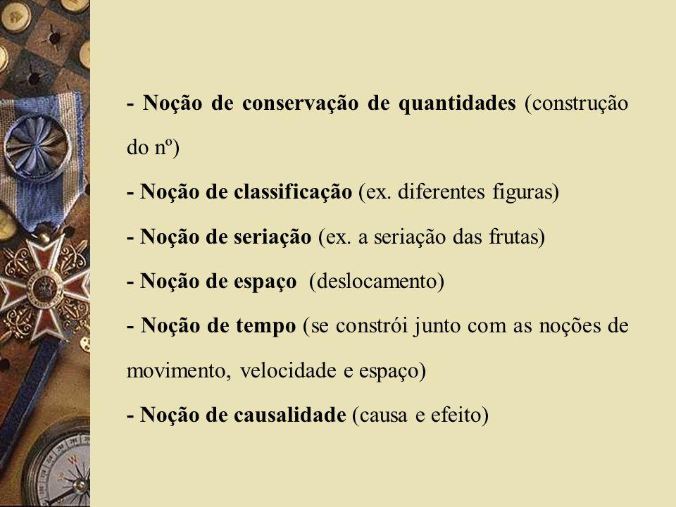 - Noção de conservação de quantidades (construção do nº) - Noção de classificação (ex. diferentes figuras) - Noção de seriação (ex. a seriação das fru