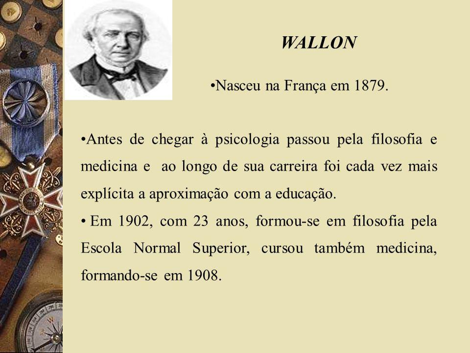 WALLON Nasceu na França em 1879. Antes de chegar à psicologia passou pela filosofia e medicina e ao longo de sua carreira foi cada vez mais explícita