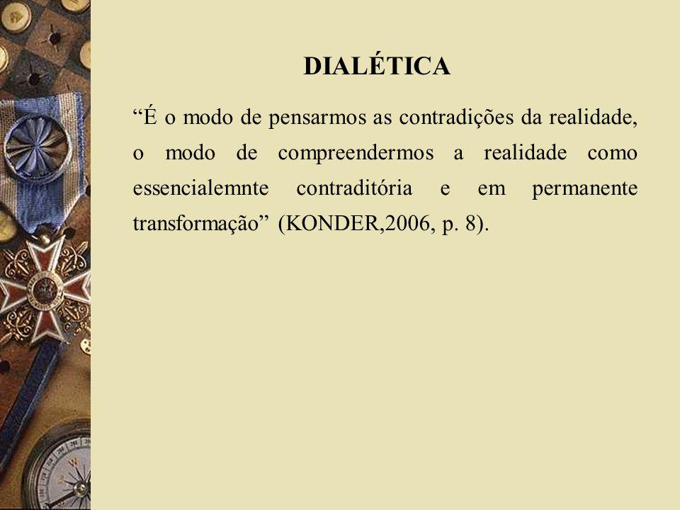 É o modo de pensarmos as contradições da realidade, o modo de compreendermos a realidade como essencialemnte contraditória e em permanente transformaç