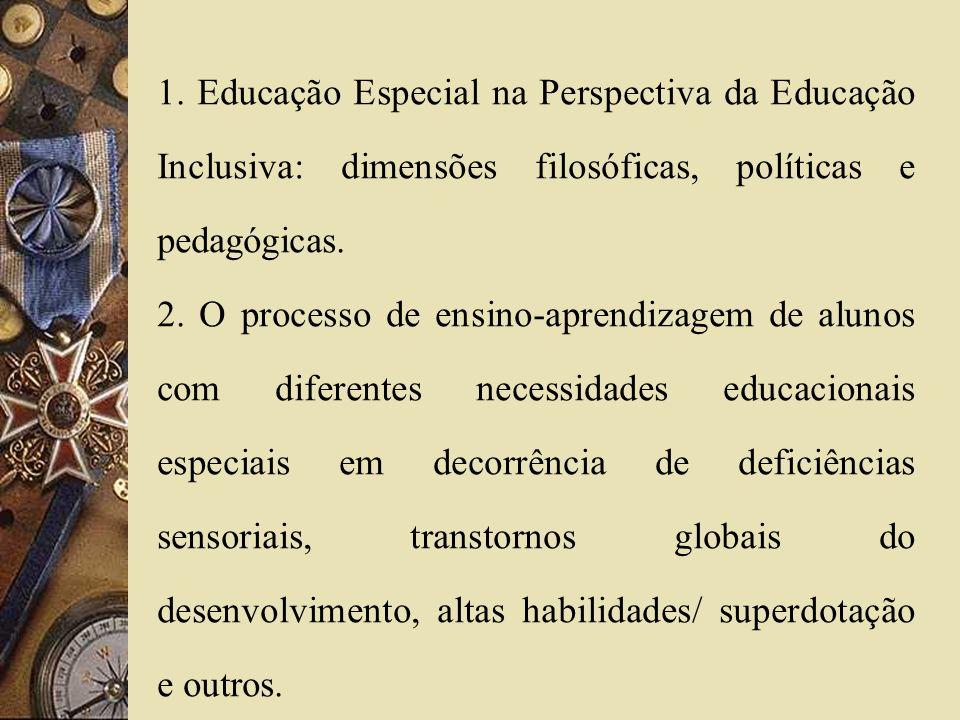 1. Educação Especial na Perspectiva da Educação Inclusiva: dimensões filosóficas, políticas e pedagógicas. 2. O processo de ensino-aprendizagem de alu