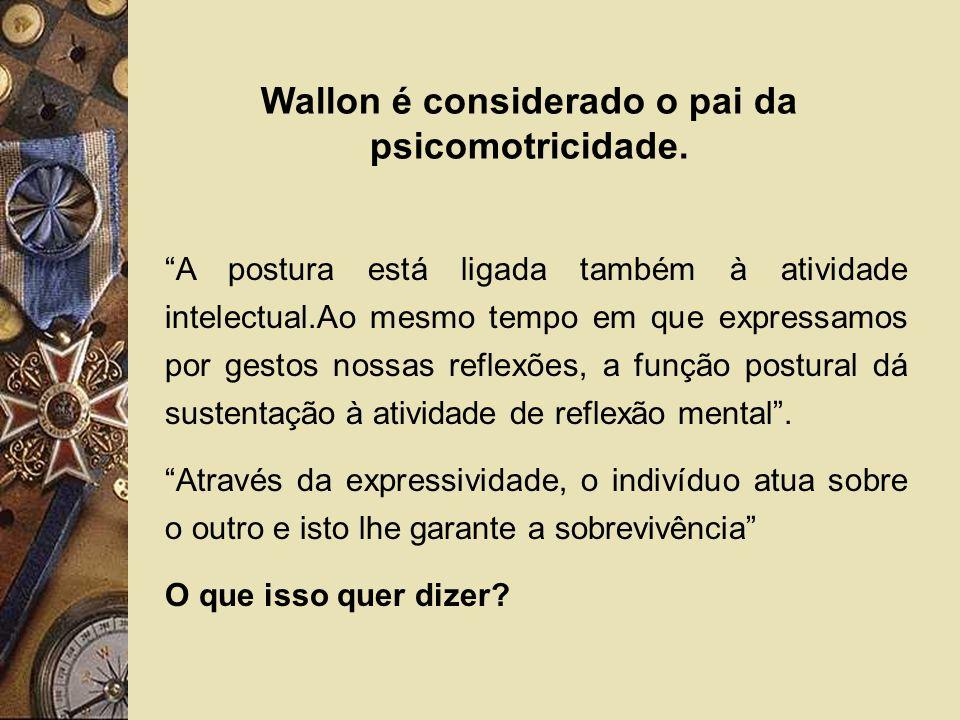 Wallon é considerado o pai da psicomotricidade. A postura está ligada também à atividade intelectual.Ao mesmo tempo em que expressamos por gestos noss
