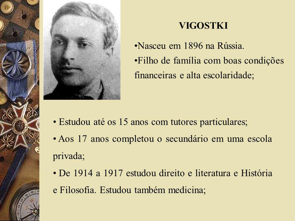 VIGOSTKI Nasceu em 1896 na Rússia. Filho de família com boas condições financeiras e alta escolaridade; Estudou até os 15 anos com tutores particulare