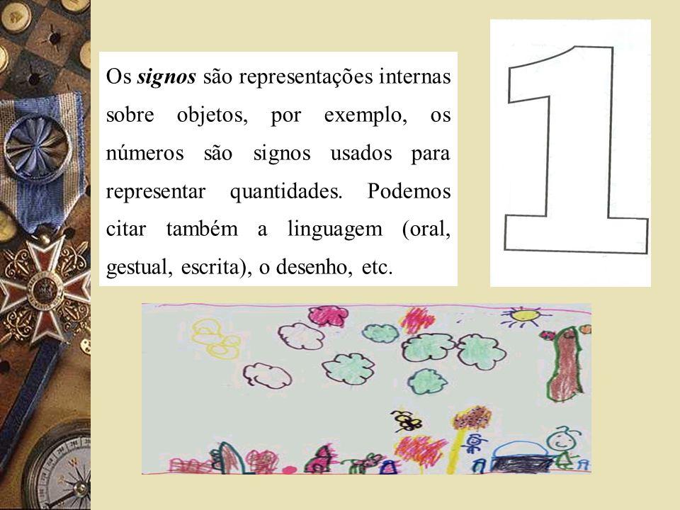 Os signos são representações internas sobre objetos, por exemplo, os números são signos usados para representar quantidades. Podemos citar também a li