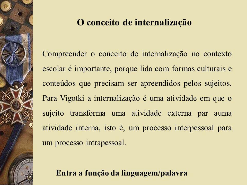 O conceito de internalização Compreender o conceito de internalização no contexto escolar é importante, porque lida com formas culturais e conteúdos q