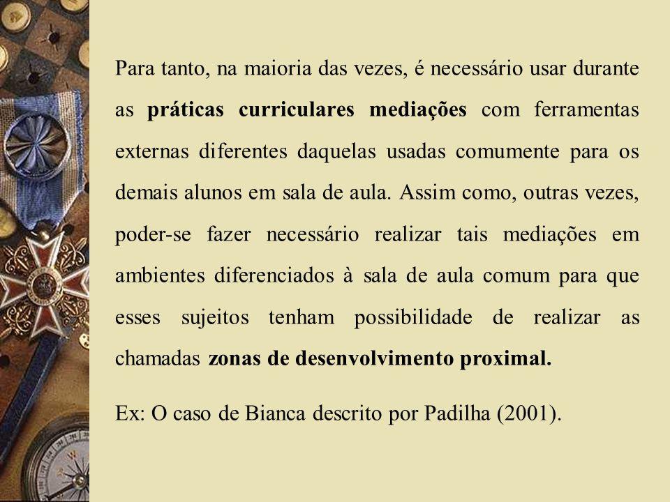 Para tanto, na maioria das vezes, é necessário usar durante as práticas curriculares mediações com ferramentas externas diferentes daquelas usadas com