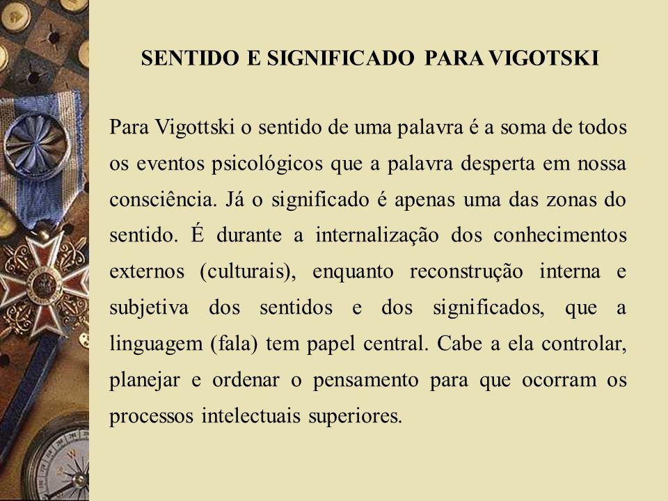 SENTIDO E SIGNIFICADO PARA VIGOTSKI Para Vigottski o sentido de uma palavra é a soma de todos os eventos psicológicos que a palavra desperta em nossa
