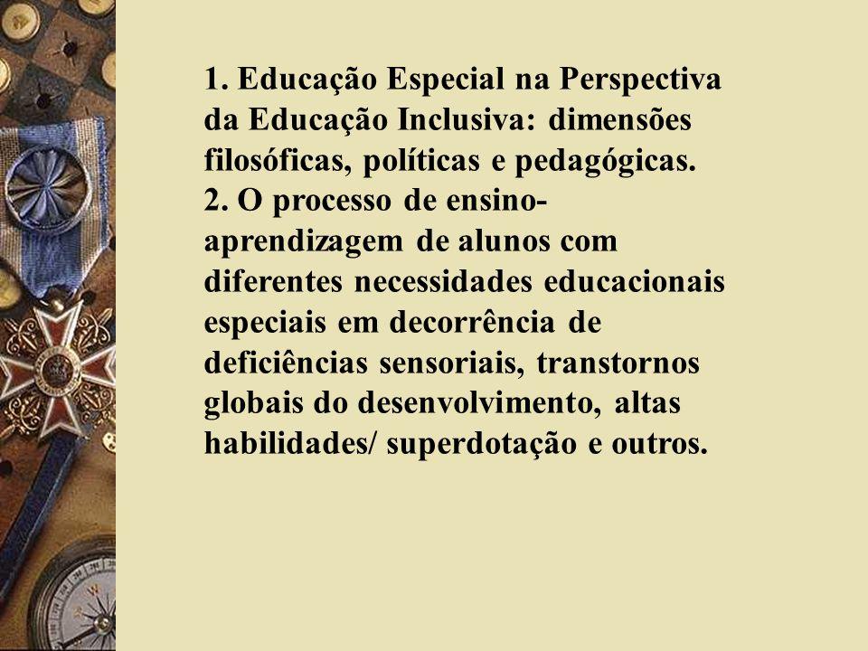 1. Educação Especial na Perspectiva da Educação Inclusiva: dimensões filosóficas, políticas e pedagógicas. 2. O processo de ensino- aprendizagem de al