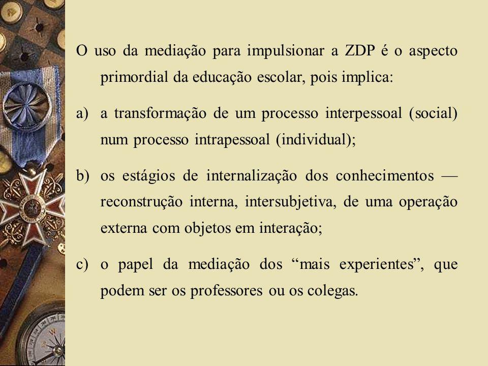 O uso da mediação para impulsionar a ZDP é o aspecto primordial da educação escolar, pois implica: a)a transformação de um processo interpessoal (soci