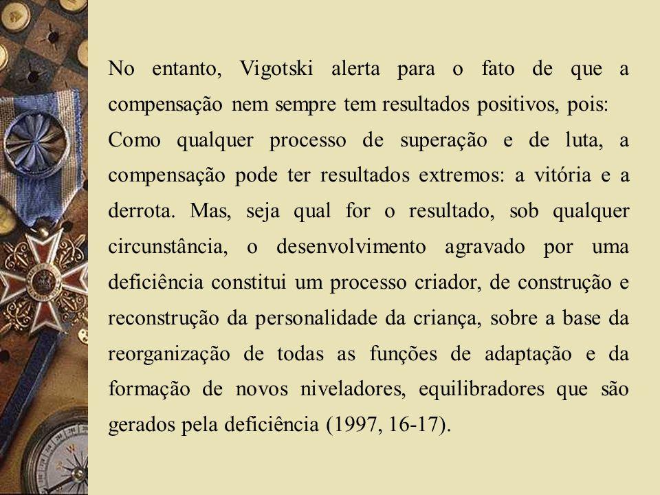 No entanto, Vigotski alerta para o fato de que a compensação nem sempre tem resultados positivos, pois: Como qualquer processo de superação e de luta,