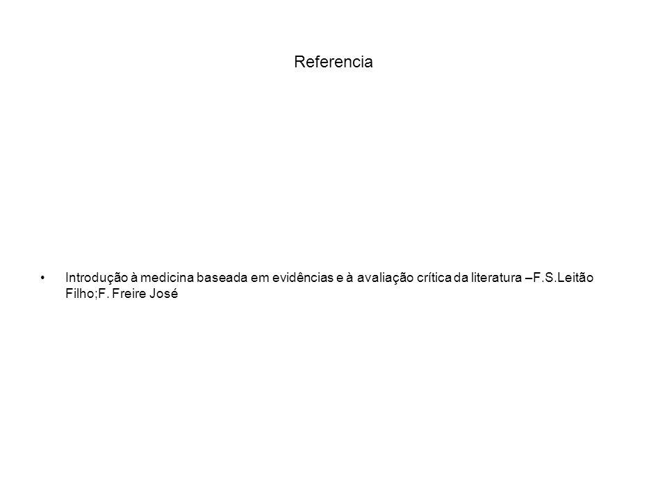 Referencia Introdução à medicina baseada em evidências e à avaliação crítica da literatura –F.S.Leitão Filho;F. Freire José