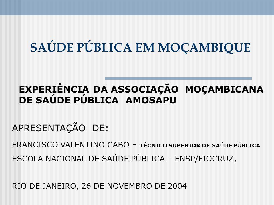 SAÚDE PÚBLICA EM MOÇAMBIQUE EXPERIÊNCIA DA ASSOCIAÇÃO MOÇAMBICANA DE SAÚDE PÚBLICA AMOSAPU APRESENTAÇÃO DE: FRANCISCO VALENTINO CABO - TÉCNICO SUPERIO