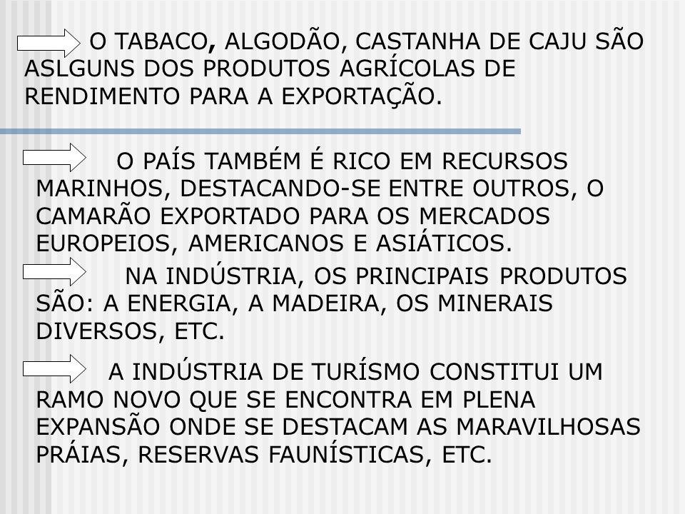 O PAÍS TAMBÉM É RICO EM RECURSOS MARINHOS, DESTACANDO-SE ENTRE OUTROS, O CAMARÃO EXPORTADO PARA OS MERCADOS EUROPEIOS, AMERICANOS E ASIÁTICOS. NA INDÚ