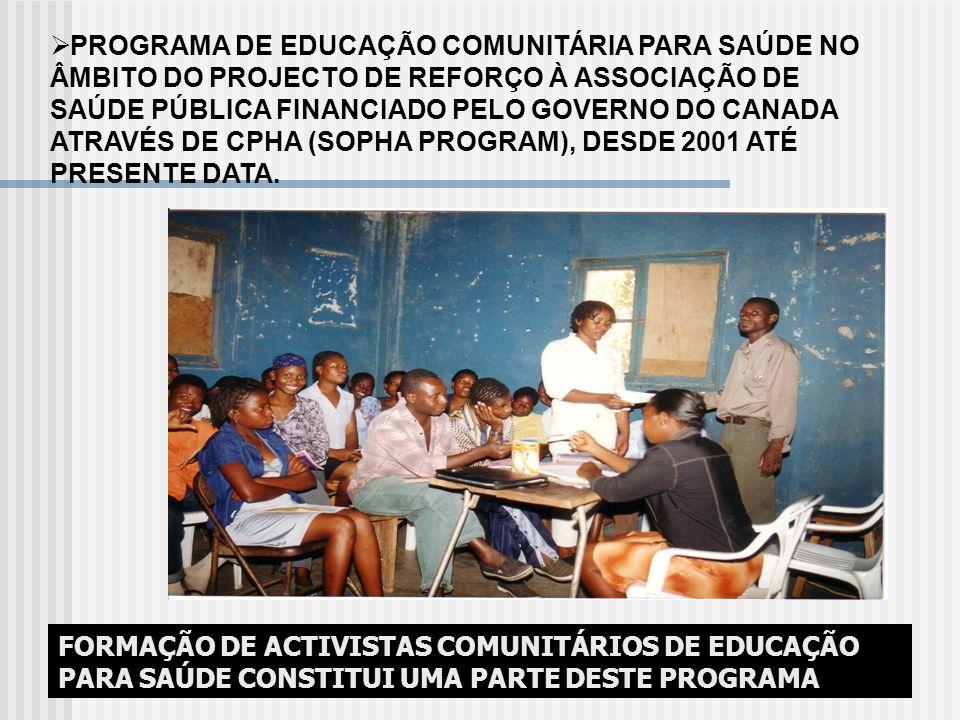 PROGRAMA DE EDUCAÇÃO COMUNITÁRIA PARA SAÚDE NO ÂMBITO DO PROJECTO DE REFORÇO À ASSOCIAÇÃO DE SAÚDE PÚBLICA FINANCIADO PELO GOVERNO DO CANADA ATRAVÉS D