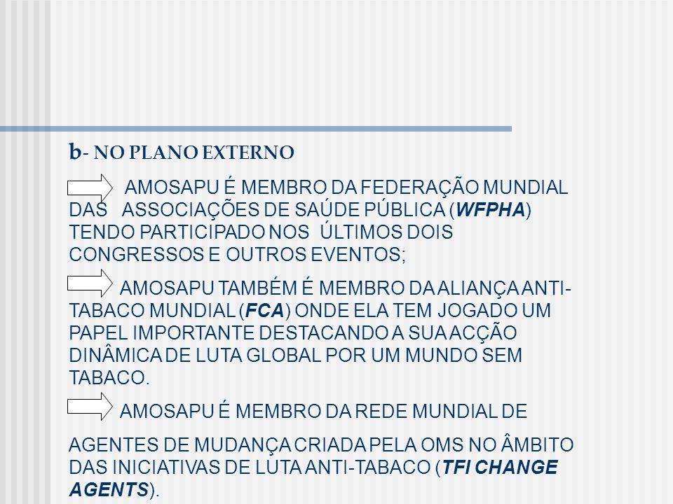 b - NO PLANO EXTERNO AMOSAPU É MEMBRO DA FEDERAÇÃO MUNDIAL DAS ASSOCIAÇÕES DE SAÚDE PÚBLICA (WFPHA) TENDO PARTICIPADO NOS ÚLTIMOS DOIS CONGRESSOS E OU