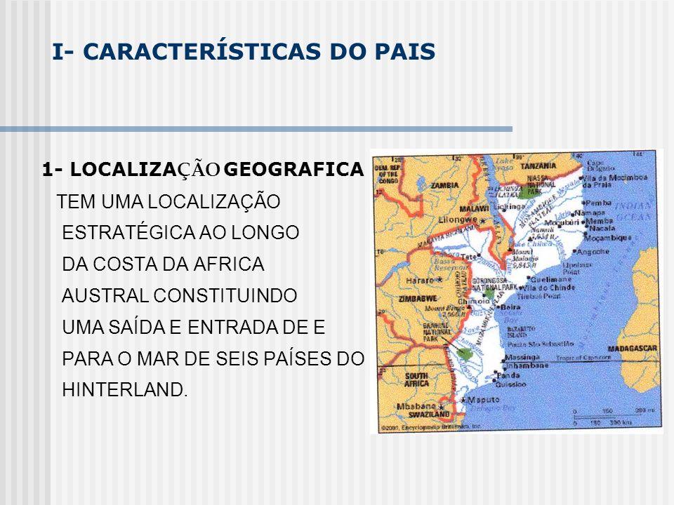 I- CARACTERÍSTICAS DO PAIS 1- LOCALIZA ÇÃO GEOGRAFICA TEM UMA LOCALIZAÇÃO ESTRATÉGICA AO LONGO DA COSTA DA AFRICA AUSTRAL CONSTITUINDO UMA SAÍDA E ENT