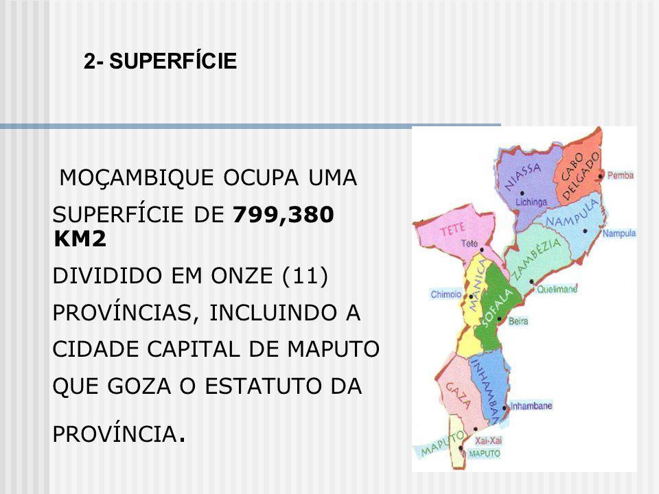 MOÇAMBIQUE OCUPA UMA SUPERFÍCIE DE 799,380 KM2 DIVIDIDO EM ONZE (11) PROVÍNCIAS, INCLUINDO A CIDADE CAPITAL DE MAPUTO QUE GOZA O ESTATUTO DA PROVÍNCIA