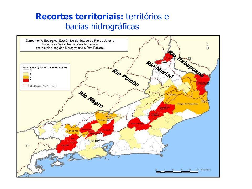 Recortes territoriais: territórios e bacias hidrográficas Rio Itabapoana Rio Muriaé Rio Pomba Rio Negro
