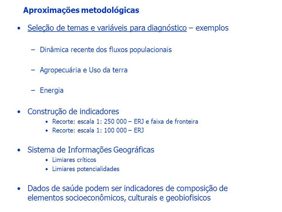 Aproximações metodológicas Seleção de temas e variáveis para diagnóstico – exemplos –Dinâmica recente dos fluxos populacionais –Agropecuária e Uso da