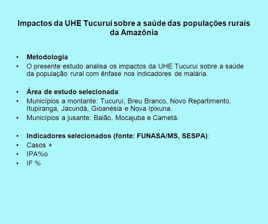 Impactos da UHE Tucuruí sobre a saúde das populações rurais da Amazônia Metodologia O presente estudo analisa os impactos da UHE Tucuruí sobre a saúde