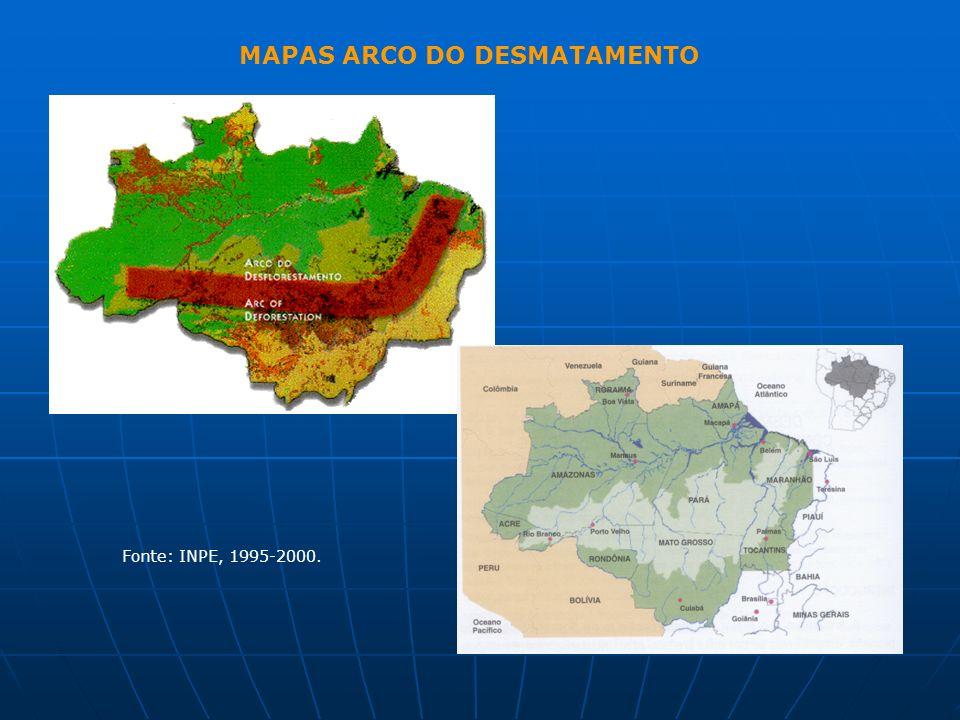 MAPAS ARCO DO DESMATAMENTO Fonte: INPE, 1995-2000.
