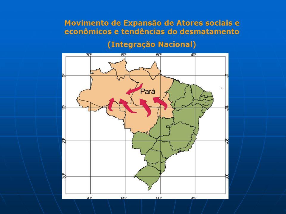 Movimento de Expansão de Atores sociais e econômicos e tendências do desmatamento (Integração Nacional)