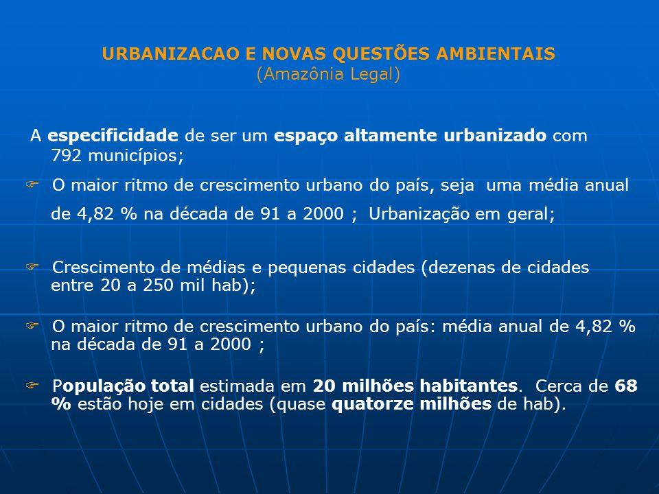A especificidade de ser um espaço altamente urbanizado com 792 municípios; O maior ritmo de crescimento urbano do país, seja uma média anual de 4,82 %