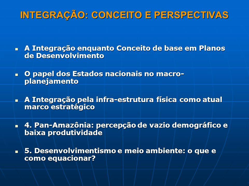 INTEGRAÇÃO: CONCEITO E PERSPECTIVAS A Integração enquanto Conceito de base em Planos de Desenvolvimento A Integração enquanto Conceito de base em Plan