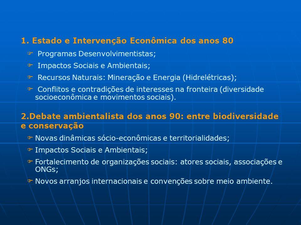 1. Estado e Intervenção Econômica dos anos 80 Programas Desenvolvimentistas; Impactos Sociais e Ambientais; Recursos Naturais: Mineração e Energia (Hi
