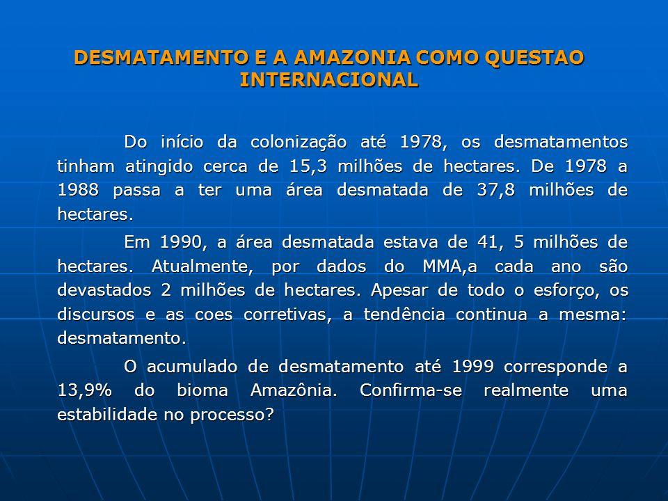 DESMATAMENTO E A AMAZONIA COMO QUESTAO INTERNACIONAL Do início da colonização até 1978, os desmatamentos tinham atingido cerca de 15,3 milhões de hect