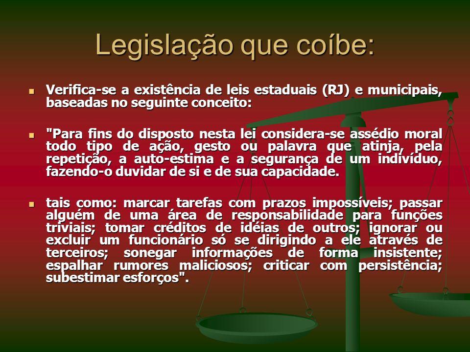 Legislação que coíbe: Verifica-se a existência de leis estaduais (RJ) e municipais, baseadas no seguinte conceito: Verifica-se a existência de leis es