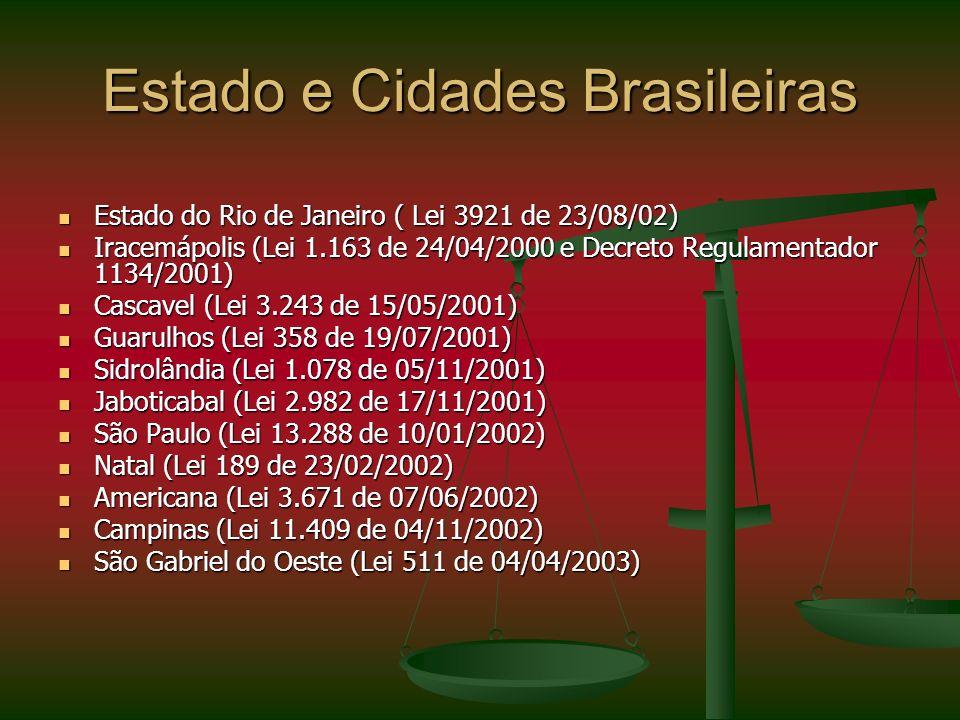 Estado e Cidades Brasileiras Estado do Rio de Janeiro ( Lei 3921 de 23/08/02) Estado do Rio de Janeiro ( Lei 3921 de 23/08/02) Iracemápolis (Lei 1.163