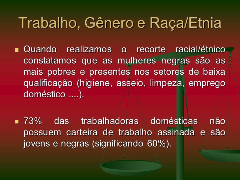 Trabalho, Gênero e Raça/Etnia Quando realizamos o recorte racial/étnico constatamos que as mulheres negras são as mais pobres e presentes nos setores