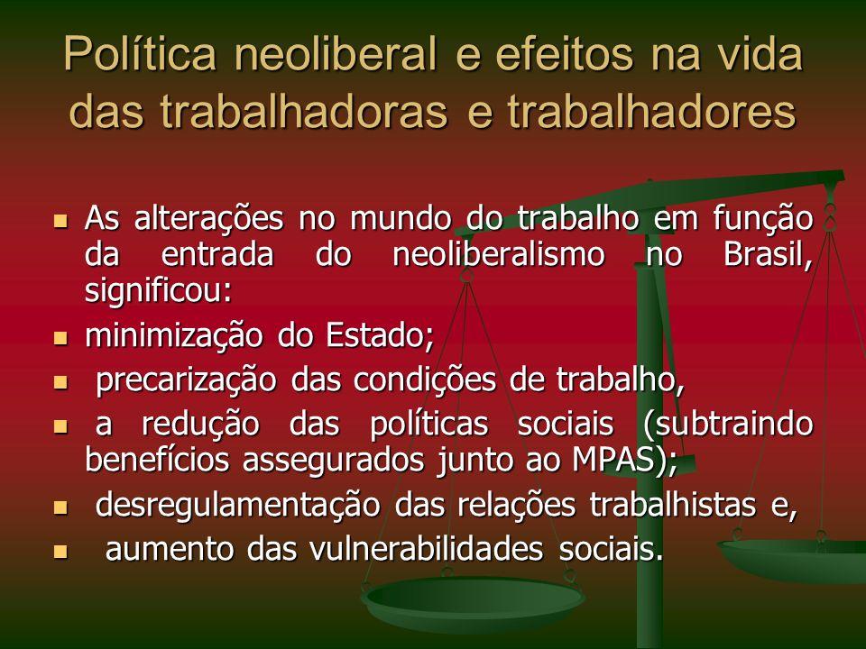 Política neoliberal e efeitos na vida das trabalhadoras e trabalhadores As alterações no mundo do trabalho em função da entrada do neoliberalismo no B