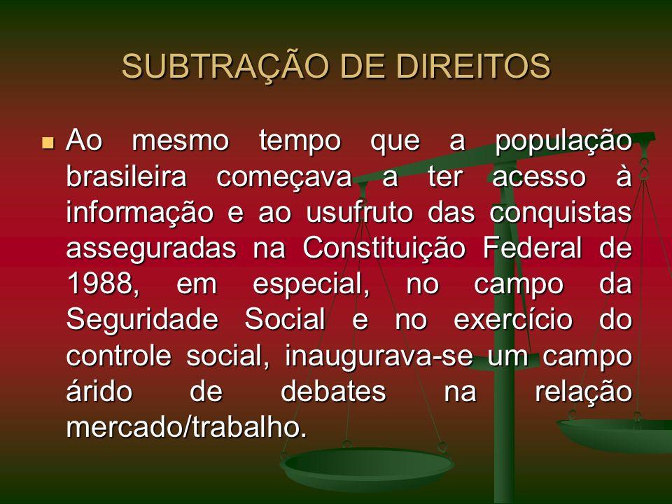 SUBTRAÇÃO DE DIREITOS Ao mesmo tempo que a população brasileira começava a ter acesso à informação e ao usufruto das conquistas asseguradas na Constit